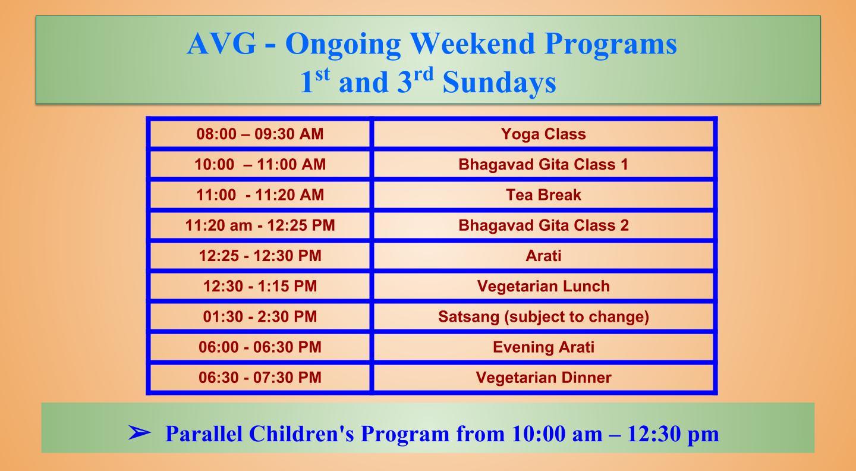 Weekend-class-schedule